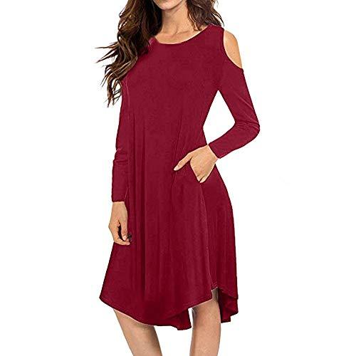 POHOK Dresses for Women Cold Shoulder Women Casual Solid Loose Long Sleeve Pockets Swing Midi Dress Wine