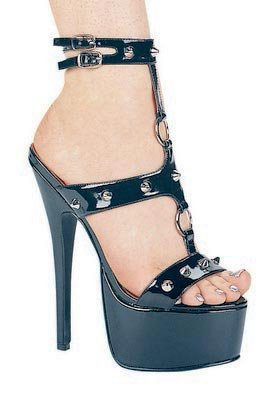 Ellie Shoes Womens 6.5 Inch Stiletto Heel Sandal with Silver Spikes T-Strap