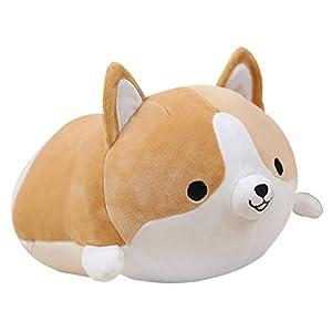 Levenkeness Corgi Dog Plush Pillow, Soft Cute Shiba Inu Akita Stuffed Animals Toy Gifts (Brown, 11.8 in) 46