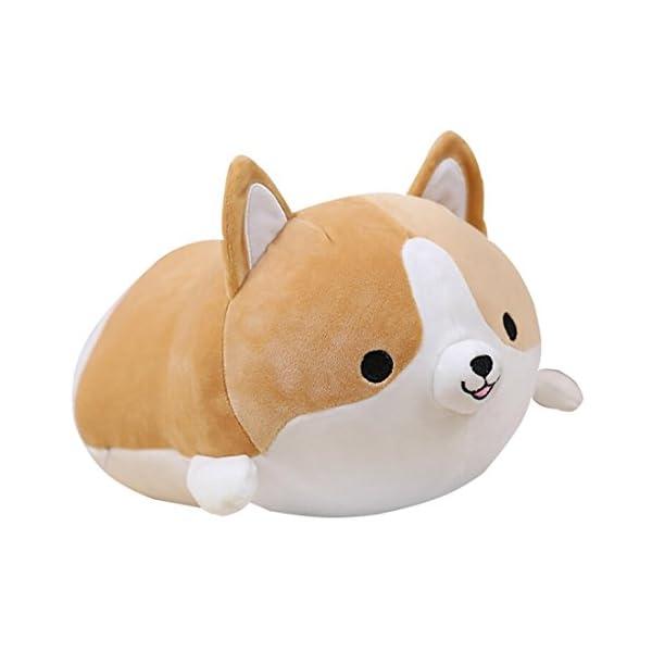 Levenkeness Corgi Dog Plush Pillow, Soft Cute Shiba Inu Akita Stuffed Animals Toy Gifts (Brown, 11.8 in) 1