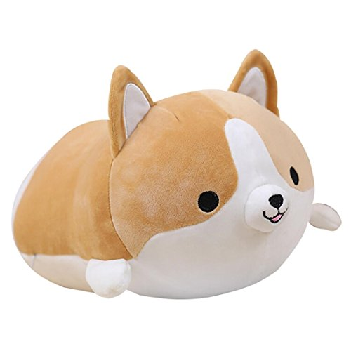 (Levenkeness Corgi Dog Plush Pillow, Soft Cute Shiba Inu Akita Stuffed Animals Toy Gifts (brown, 11.8 in))