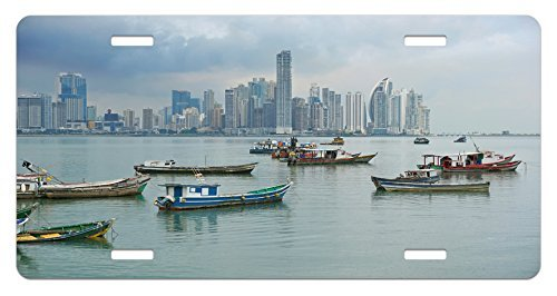 ape License Plate, Anchored Fishing Boats Skyscrapers Panama Cityscape Pacific Coast Central America, High Gloss Aluminum Novelty Plate, 6 X 12 Inches. ()