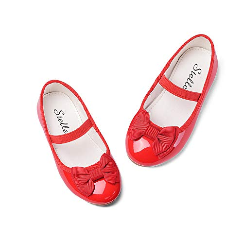 Kids Red Dresses (STELLE Girls Bow-Knot Mary Jane Shoes Slip-on Party Dress Flat for Girls (Red,)