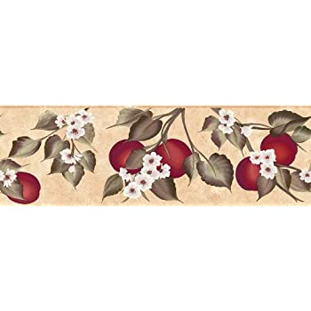 and Baths Flowers and Fruits Wall Border Navy Bedrooms 20.3-Inch by 180-Inch Brewster 135B57947 Martex Special Places For Kitchen
