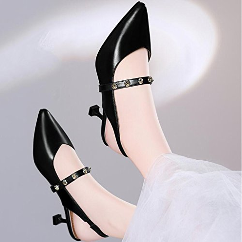 CN37 5 Color Moda Verano Rhinestone Elástica UK4 Sandalias Banda Zapatos Tacones Mujer 5 Superior Tamaño Mujer PU De 1 Wrap Toe Talón Delgado EU37 wfaPg