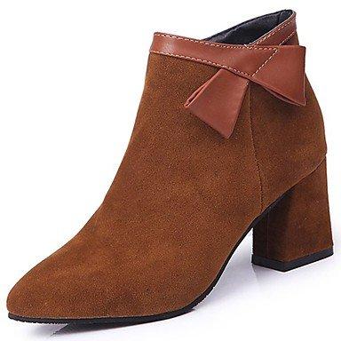 RTRY Zapatos De Mujer Invierno Suede Comodidad Fashion Botas Botas Chunky Talón Señaló Bowknot Toe Para Casual Negro Marrón US5.5 / EU36 / UK3.5 / CN35