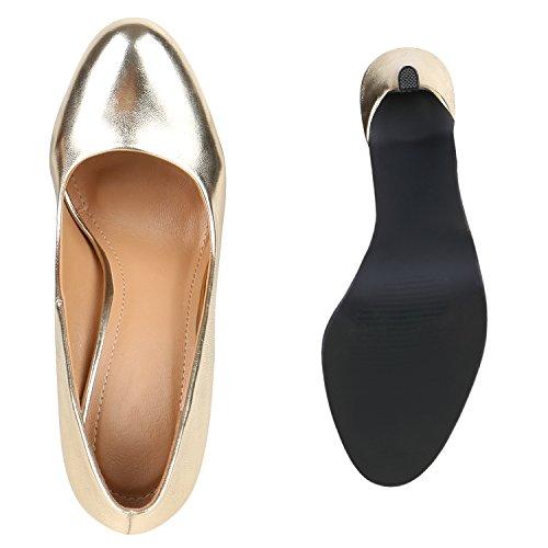 Stiefelparadies Damen Lack Pumps Stiletto High Heels Metallic Schuhe Party Abendschuhe Plateau Plateau Pumps Flandell Gold