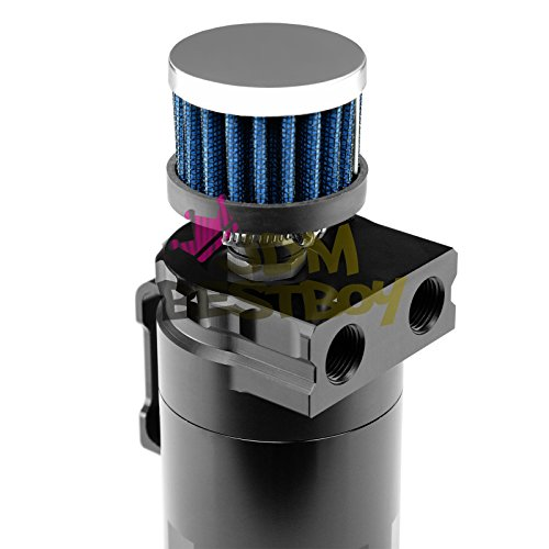 Black Billet Aluminum Engine Oil Catch Reservoir Breather Tank Can Cylinder With Filter #3 by JDMBESTBOY (Image #1)