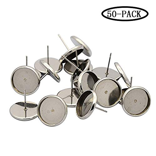 50 pcs Flat Round Earstud Posts,Stainless Steel Flat Round Bezel Ear Studs Posts Blank Tray Base Fit Glass Cabochons Nickel Free for Jewelry DIY Earring Making(Tray: 6mm; 8mm, Pin: 0.7mm) ()