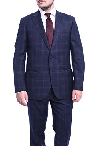 (Napoli Classic Fit Navy Windowpane Plaid Half Canvassed Super 150s Wool Suit)