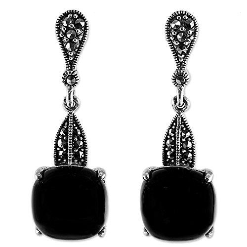 NOVICA Onyx .925 Sterling Silver Dangle Earrings, 'Beautifully (Novica Marcasite Earrings)