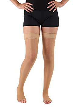 Lux Sheer Support Thigh High - Firm Compression 20-30mmHg X-Large,Beige -Open Toe- Absolute support-Made In USA