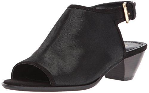 Anne Klein Women's Glenys Fabric Heeled Sandal, Black/Black Black Fabric