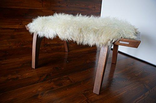 MILABERT Minimalist Mahogany wood bench Upholstered curly cr
