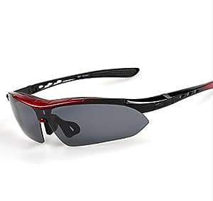 coface exterior Ciclismo Conducción Gafas con 5lentes Intercambiables Noche Gafas de ciclismo gafas de deporte Googles, rosso
