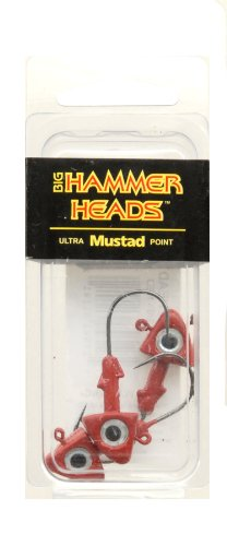 Big Hammer Jig Head with 2/0L Hook, Red, 1/4-Ounce(Pack of 3)