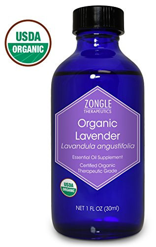 Bulgarian Lavender Essential Oil - Zongle USDA Certified Organic Lavender Essential Oil, Bulgarian, Safe To Ingest, Lavandula Angustifolia, 1 oz