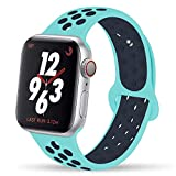 YC YANCH Greatou Compatible for Apple Watch Band, Silicone Sport Band Replacement Wrist Strap Compatible for iWatch Apple Watch Series 3/2/1,Nike+,Sport,Edition,38mm 40mm S/M,Turquoise Midnightblue