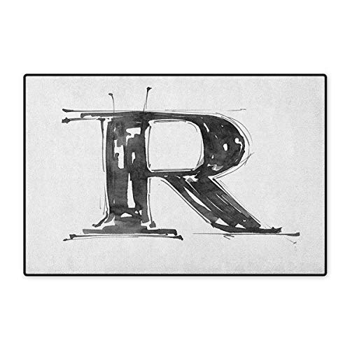 (Letter R,Door Mat Increase,Sketch Style R World with Grunge Gothic Tones Hand Drawn Paintbrush Illustration,Floor Mat Pattern,Black White,Size,32