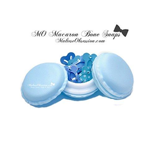 Blue Maltese - Maltese Obsession MO Macaron BLUES BONE SNAP HAIR CLIPS - 10 BLUES BONE SHAPED Hair Clips PLUS FREE BONUS MO top knot bands in MACARON CASE - CUTEST Candy Color Case Kawaii