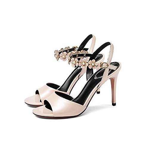 Sandals High Heels Women's 9CM Summer Sandals Flower Sandals Summer One-Button Buckle (White/Black/Pink) B07FDF3K94 Shoes 548dd1