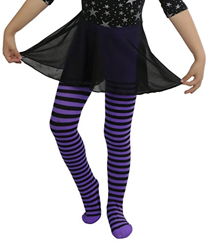 Child Striped Tights - ToBeInStyle Girl's Girls Striped Tights - Black/Purple - S