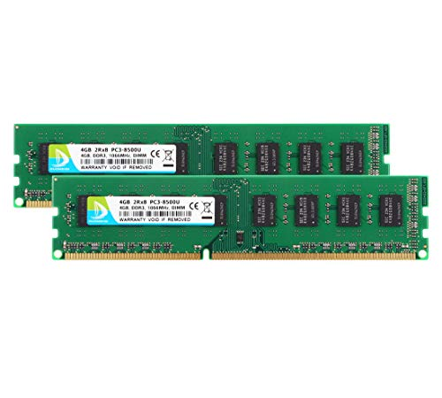 PC3 8500, DDR3 1066, DUOMEIQI 8GB DDR3 2Rx8 PC3 DDR3 UDIMM DDR3 Ram 8GB Kit (2x4GB) PC3-8500 DDR3 1.5V CL7 Desktop RAM Memory Upgrade Chips