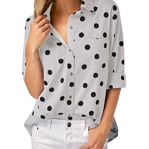 White Clothes SHOBDW Lunga Donna V Manica a Collo Camicia Women's z1qwxOU