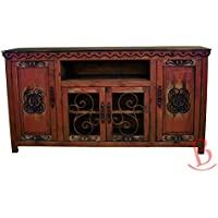 Red Large Durango TV Stand Console With Iron Work Entertainment Center Rustic Western
