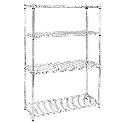FCH 4 Tier Metal Wire Storage shelves 35 1/2 W x 13 3/4 D x 47 1/4 H, Heavy Duty Multipurpose Shelf Display Rack Freestanding Organizer for Kitchen Garage (Silver) by FCH