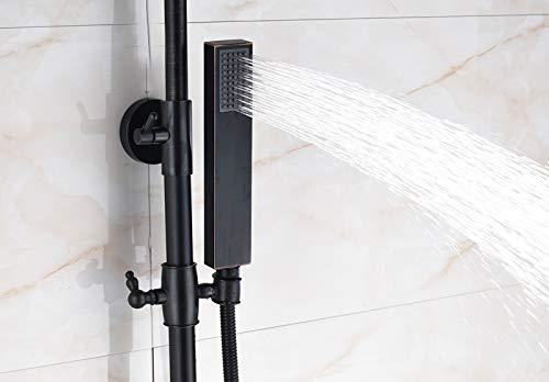 Boyishengshi Luxury Thermostat 8 inch Round LED Shower Head with Manual Sprayer Oil rub Bronze Wall Hanging by Boyishengshi (Image #2)