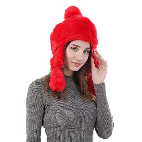 (Cinhent Hat Women Lady Faux Fur Thicken Plus Velvet Ball Warm Fox Plush)