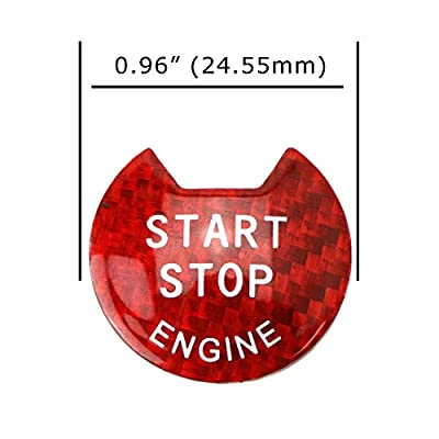 iJDMTOY (1) Gloss Red Real Carbon Fiber Keyless Engine Start/Stop Push Start Button Cover Compatible With Nissan Altima Maxima Pathfinder Titan Murano Infiniti Q50 Q60 QX60: Automotive