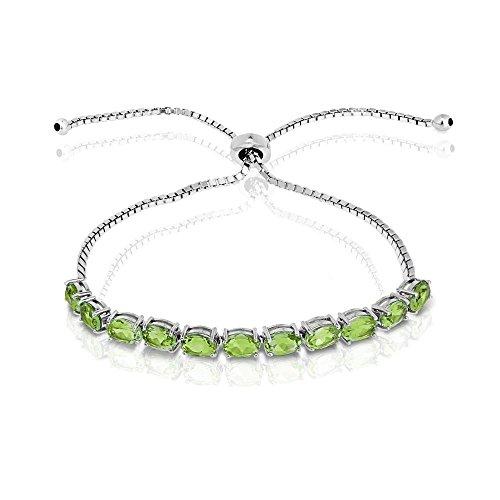 GemStar USA Sterling Silver Peridot 6x4mm Oval-Cut Adjustable Tennis Bracelet