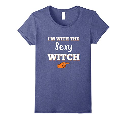 Funny Couple Costumes Ideas (Womens Halloween Couples Costume T-shirt I'm With The Sexy Witch XL Heather Blue)
