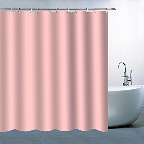 (BCNEW Pink Shower Curtain Decor Pure Pink Romantic Woman Girl Bathroom Curtain Polyester Fabric Machine Washable with Hooks 70x70 Inches)