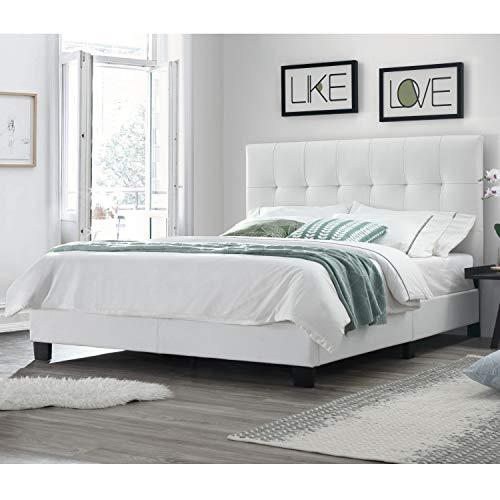 DG Casa 12150-Q-WHT Bianca Tufted Upholstered Platform Bed Frame, Queen Size in White Faux Leather