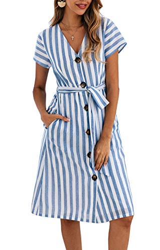 PRETTYGARDEN Women's Summer Striped Short Sleeve V Neck Button Down Belted Swing Midi Dress with Pockets (Blue, X-Large) Blue Striped Cotton Dress Shirt