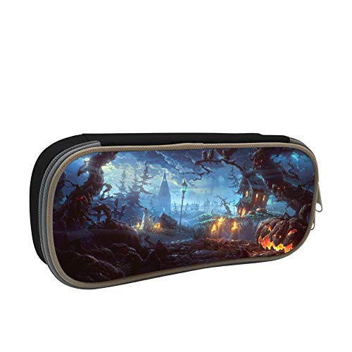 Forest Halloween Pencil case Pen Bag Makeup Pouch Student Large Capacity Zipper Multifunction Black