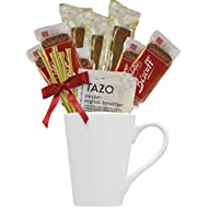 Tazo Tea Gift Set Featuring Large Bistro Style Mug, Nonni's Biscotti, Biscoff Lotus Cookies, Tazo Tea Bags, and Original Honey Stix Makes Excellent Women Gift or Tea Gifts for Any Ocassion