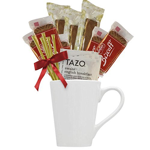Tazo Tea Gift Set Featuring Large Bistro Style Mug, Nonni's Biscotti, Biscoff Lotus Cookies, Tazo Tea Bags, and Original Honey Stix Makes Excellent Women Gift or Tea Gifts for Any Ocassion by Cottage Lane