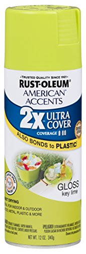 Rust Oleum 280696 American Accents Ultra Cover 2X Spray Paint, Gloss Key Lime, 12-Ounce