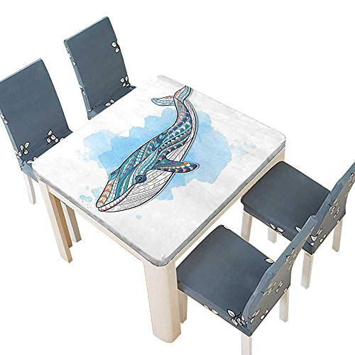 PINAFORE 100% Polyester Luxury Tablecloth Sea Whale Tribal Tattoo Ornaments Paintbrush Artwork Design Graphic Art Teal Sky Resistant Waterproof Tablecloths 45 x 45 INCH (Elastic ()