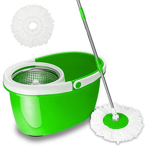 Valuebox 360 Degree Spin Bucket System Mop with Extended Length Handle and 2 Microfiber Mop Heads, Spin Mop and Bucket Floor Cleaning System (Light Green)