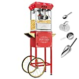 Olde Midway Vintage Style Popcorn Machine Maker Popper with Cart and 10-Ounce Kettle - Red