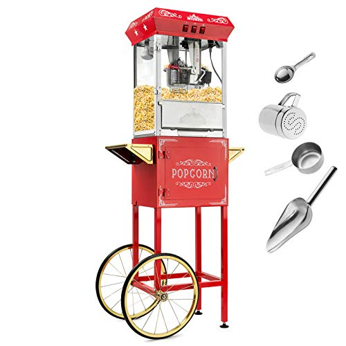Olde Midway Vintage Style Popcorn Machine Maker Popper with Cart and 10-Ounce Kettle - Red (Pink Popcorn Machine)