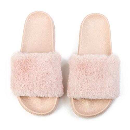 JUNKUNL Women's Comfortable Furry Home Slippers Open Toe Indoor Outdoor Casual Flat Slide Sandals Pink 7.5 B(M) US