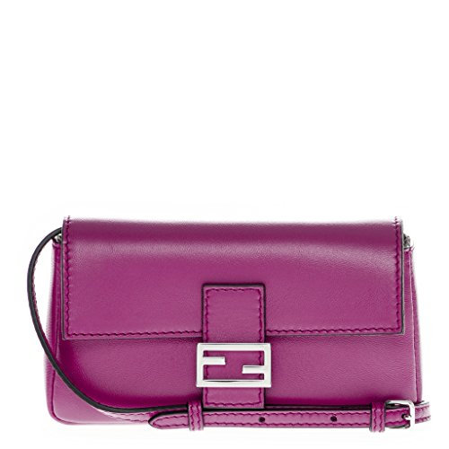 Fendi Women's Leather Micro Baguette Magenta