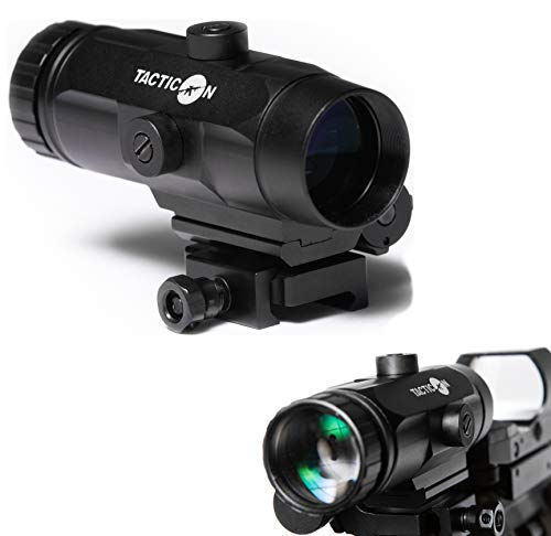 Discover Bargain Tacticon Falcon V1 3X Red Dot Magnifier with Flip to Side Mount for Picatinny Rail ...