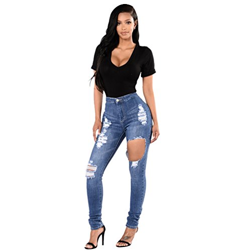 Strappati Skinny Sentao Vintage Scarni Leggings Jeans Stile Donna Pantaloni Ginocchio 9 PqttnURXW